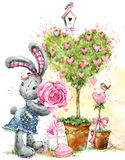 Cute bunny rabbit. Valentines day card. Royalty Free Stock Image