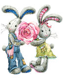 Cute bunny rabbit. Valentines day card. Watercolor bunny rabbit illustration. Rose flower. Valentine heart. Greeting card for Valentine day. Love you Stock Photo