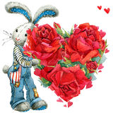 Cute bunny rabbit. Valentines day card. Stock Images