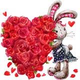 Cute bunny rabbit. Valentines day card. Royalty Free Stock Photos
