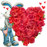 Cute bunny rabbit. Valentines day card. Royalty Free Stock Photography