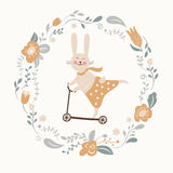 Cute bunny rides by cycle Royalty Free Stock Photo