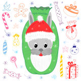 Cute Bunny`s Head in Santa Claus Hat with Beard. Children Drawings of Christmas Elements. Cartoon Hare, Candies, Gifts and Stars. Vector Illustration Stock Photos