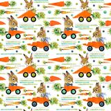 Cute bunny seamless pattern. Cartoon car. watercolor carrot illustration royalty free illustration