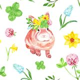 Cute bunny seamless pattern, hand drawn watercolor illustration.Baby rabbit on a floral meadow stock photos