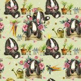 Cute bunny seamless pattern. rabbit watercolor illustration. royalty free illustration