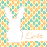Cute bunny silhouette on seamless background with eggs. Stock Photography