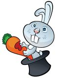 Cute bunny sitting in magic hat and holding carrot Royalty Free Stock Photos