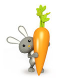Cute Bunny stand with carrot. 3d bunny stand with carrot Stock Photos