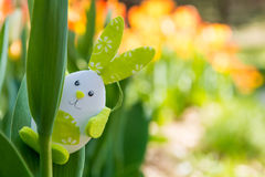 Cute bunny toy hidding among tulips. Royalty Free Stock Photo