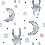 Cute Bunny . Vector watercolor seamless pattern. Cute Bunny . Vector seamless pattern stock illustration