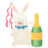 Cute bunny with wine. Stock Images