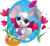 Cute Bunny With Decorative Egg Royalty Free Stock Photography