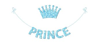 Cute bunting as festive glitter letters and crown for your decoration. Can be used for birthday or baby shower invitation card Royalty Free Stock Image