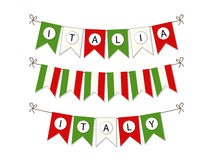 Cute bunting flags with letters in traditional colors of Italy Stock Images