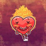 Cute Burning Heart for Valentine's Day Royalty Free Stock Images