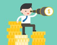 Cute business man standing on stack of gold coins, using binoculars, vision advantage of having more budget concept. Flat design vector stock illustration