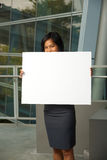 Cute Business Professional Blank Sign Hiding Royalty Free Stock Photography