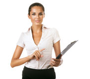 Cute business woman with black folder Royalty Free Stock Image