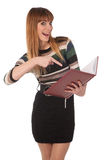 Cute business woman with a book in her hands Royalty Free Stock Photo