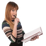Cute business woman with a book in her hands Stock Photos