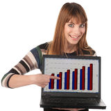 Cute business woman with laptop Stock Image