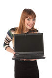 Cute business woman with laptop Royalty Free Stock Image