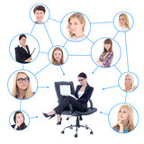 Cute business woman with laptop and her social network isolated. Cute business women with laptop and her social network isolated over white background Royalty Free Stock Photo