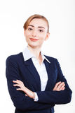 Cute business woman smiling for your advertisement Royalty Free Stock Photos