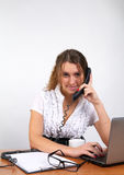 Cute business woman talking phone Stock Photography