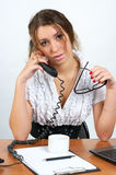 Cute business woman talking phone Royalty Free Stock Photography