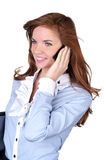 Cute business woman talking phone Royalty Free Stock Image