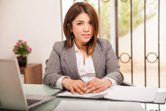 Cute business woman at work Stock Image