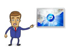 Cute businessman pointing at dash cryptocurrency in the bright r Royalty Free Stock Images