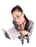 Cute businessman portret  with laptop. isolated Royalty Free Stock Photos