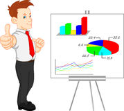 Cute businessman and presentation results Royalty Free Stock Photos