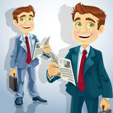 Cute businessman read a summary of the news Royalty Free Stock Image