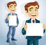 Cute businessman show the form for presentation Royalty Free Stock Image