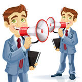 Cute businessman speaks in megaphone Stock Photo