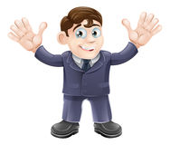 Cute businessman in suit waving Royalty Free Stock Images
