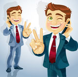 Cute businessman talking on the phone Stock Photography