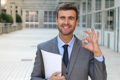 Cute businessman winking and giving an OK sign.  Royalty Free Stock Photo