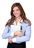 Cute businesswoman carrying a laptop Royalty Free Stock Photo