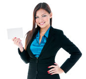 Cute Businesswoman Holding Blank Card Royalty Free Stock Photos