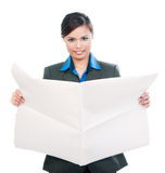 Cute Businesswoman Holding Blank Newspaper Royalty Free Stock Photos