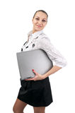 Cute businesswoman with laptop Stock Image