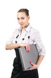 Cute businesswoman with notebook Stock Image