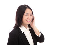 Cute businesswoman (Office Lady) smiles with mobil Stock Photo