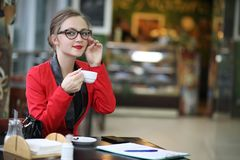 Cute businesswoman outdoor Royalty Free Stock Photo