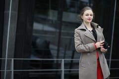 Cute businesswoman outdoor Stock Photos